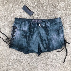 Tripp NYC Grey Black Shorts with Lace Up Sides